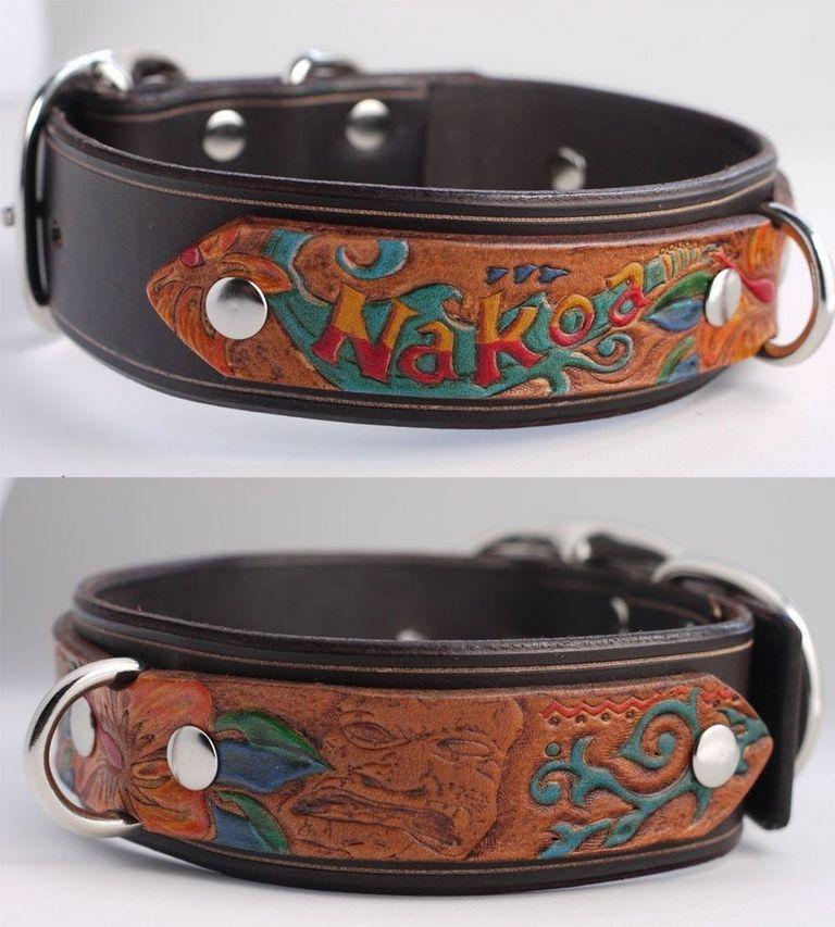 Custom Tooled Leather Dog Collars